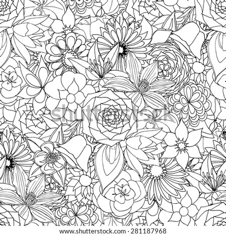 Floral seamless pattern background with leaves. Doodles ornament - stock vector