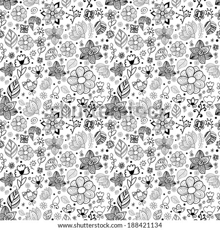 Floral seamless pattern background with leaves. Doodles ornament theme for your design  - stock vector