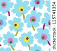 floral seamless pattern, background, with splashes - stock vector