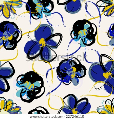 floral seamless pattern background, with strokes, spring flowers - stock vector
