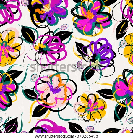 floral seamless pattern background, with strokes, summer flowers - stock vector