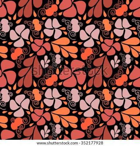 Floral seamless pattern. Background with stylized flowers and leaves.  - stock vector