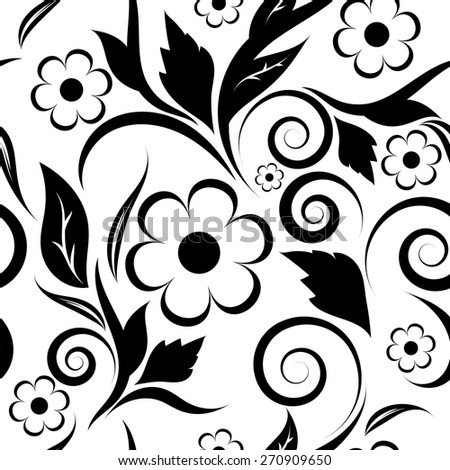 floral seamless pattern.black flowers on a white background  - stock vector