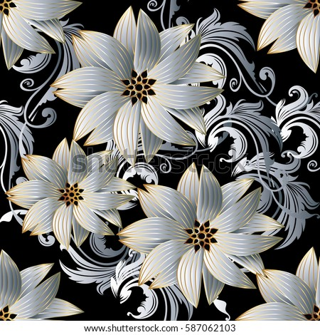 Floral Seamless Pattern Damask Ornaments Modern Flourish Baroque Background Wallpaper With Vintage 3d White