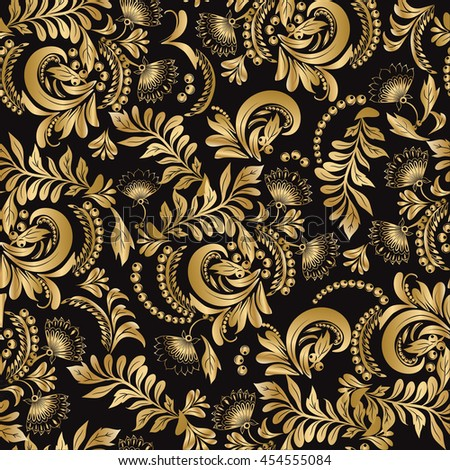 Floral seamless pattern decorative style Hohloma gold ornament on black background