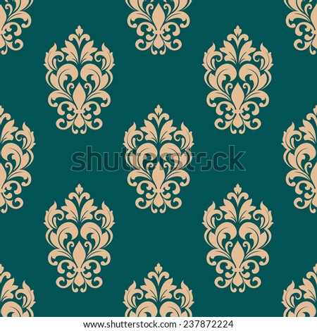 Floral seamless pattern design in victorian style for luxury wallpaper or textile with beige flowers on green background - stock vector