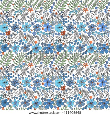 Floral seamless pattern. Elegant flowers, leaves, bugs and stones on a white background, hand drawn vector background. - stock vector
