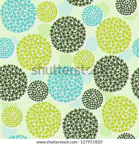 Floral seamless pattern. Endless romantic texture with stylized bunches of flowers. Template for design and decoration - stock vector