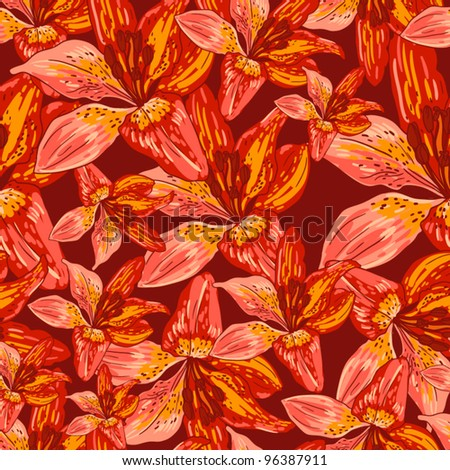 Floral seamless pattern, endless texture with flowers. Vector background for textile design. Vector ornament with lily.  Wallpaper, background. - stock vector