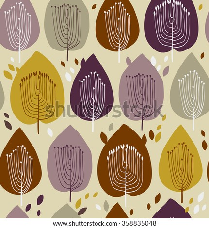 floral seamless pattern, fabric texture with decorative trees. Cute background with leaves for curtains, clothes, prints, wallpapers, packages - stock vector