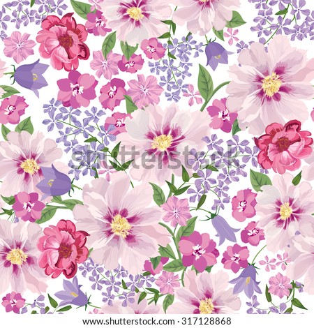 Floral seamless pattern. Flower background. Floral seamless texture with flowers. Flourish tiled wallpaper - stock vector
