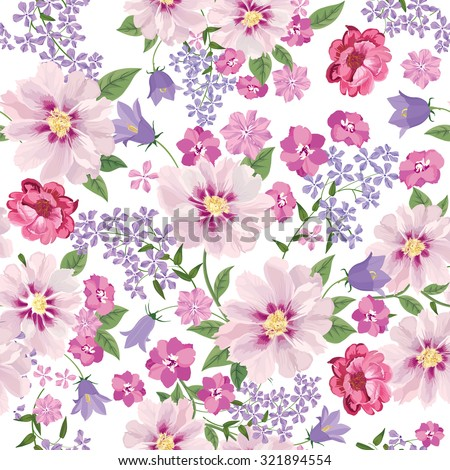Floral seamless pattern. Flower background. Floral tile spring texture with flowers. - stock vector