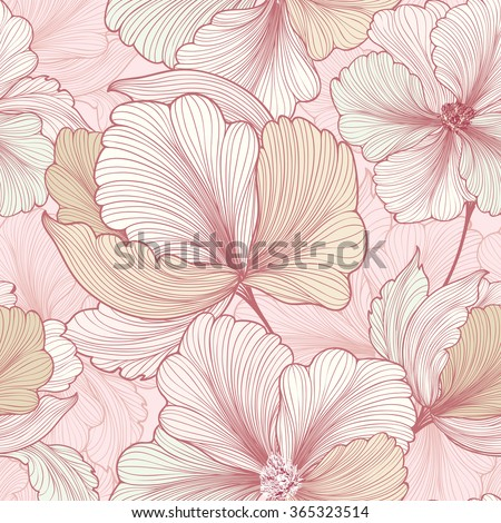 Floral seamless pattern. Flower background. Flourish sketch texture with flowers daisy. - stock vector