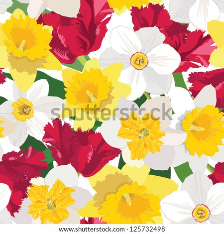 floral seamless pattern.  flower background with red tulip and white daffodil - stock vector