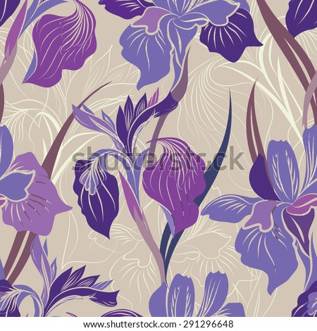Floral seamless pattern. Flower iris background. Floral seamless texture with flowers. - stock vector