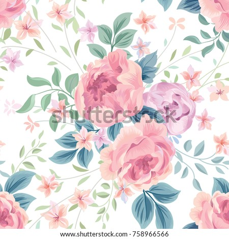 Floral Seamless Pattern Flower Rose White Background Flourish Wallpaper With Flowers