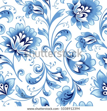 Floral seamless pattern. Flower silhouette ornament. Ornamental flourish background, russian native ethnic style