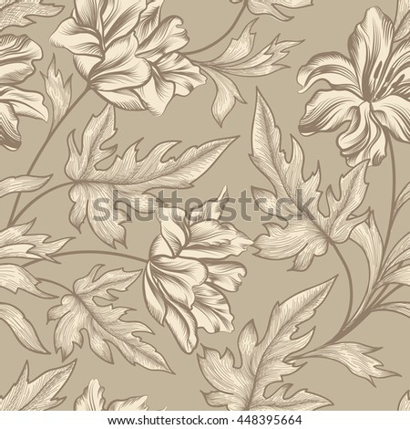 Floral seamless pattern. Flower tulip swirl background. Floral seamless texture with flowers. Flourish tiled wallpaper - stock vector