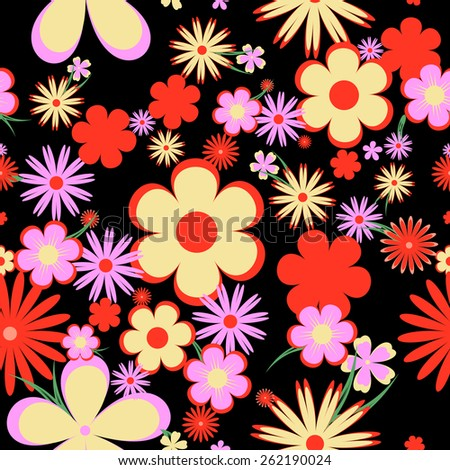 floral seamless pattern.flowers on a black background  - stock vector