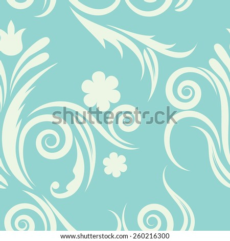 floral seamless pattern.flowers on a blue background  - stock vector