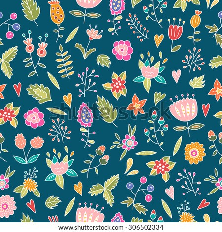 Floral seamless pattern: flowers, plants, leaves and nature elements