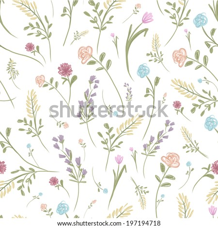 Floral seamless pattern for your design - stock vector