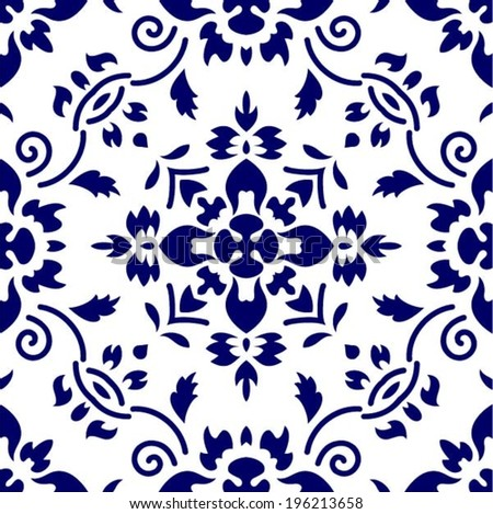 Floral seamless pattern from China or Japan, symmetrical ornament, vector  - stock vector