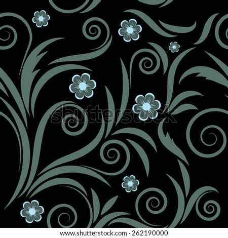 floral seamless pattern.gray flowers on black background - stock vector
