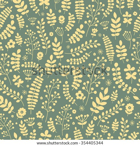Floral seamless pattern. Hand drawn doodle flowers and plants for your design. Vector. Yellow flowers on grey background.