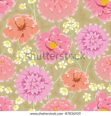 Floral seamless pattern. Hand drawn flowers. Bright colors. Perfect for wrapping paper, wallpaper,textile - stock vector