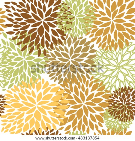 Floral seamless pattern in brown, beige and light green colors