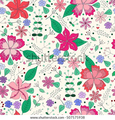 Floral seamless pattern in doodle style. For fabric, wallpaper, gift wrap. All elements are not cropped and hidden under mask