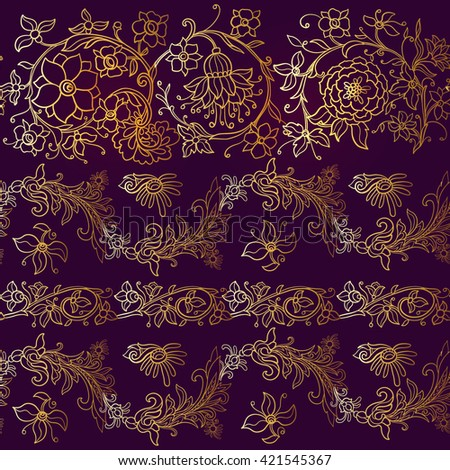 Floral seamless pattern in middle ages style. Gold outline on black background