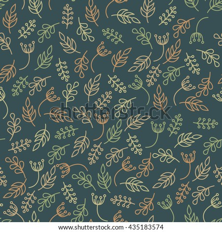 Floral seamless pattern in trendy linear style. Organic and cosmetics branding.