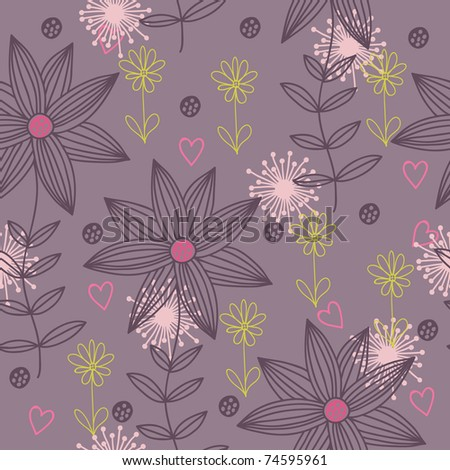Floral seamless pattern in vector - stock vector