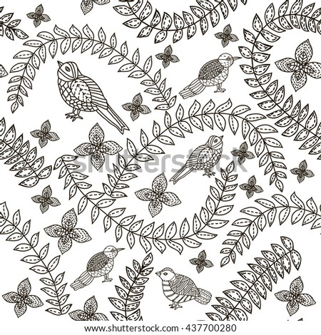 Floral seamless pattern. Leaves background. Birds. Hand drawn. Coloring book page