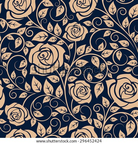 Floral seamless pattern of blooming roses on wavy twigs with curved tips and lush foliage on dark blue background, for interior wallpaper or textile design - stock vector