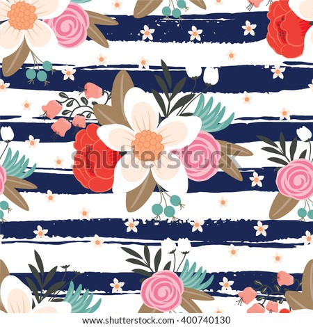 Floral seamless pattern on stripe background.