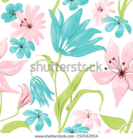 Floral seamless pattern or background, retro style over white - stock vector