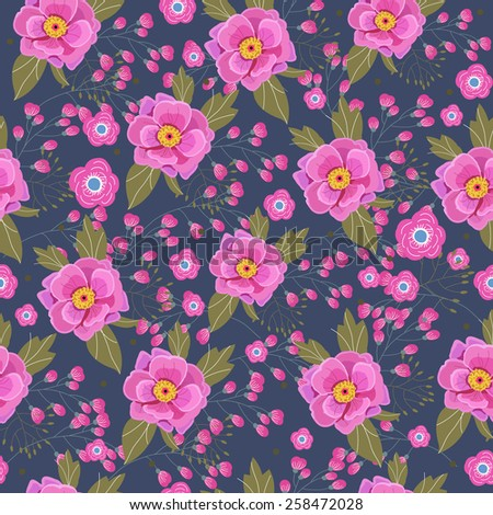 Floral seamless pattern. Pink flowers on the blue background - stock vector