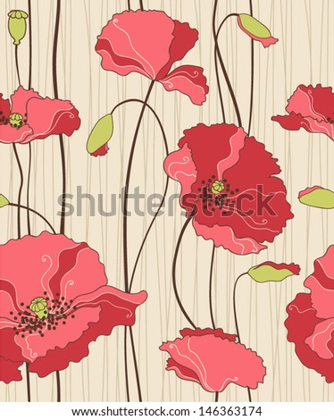floral seamless pattern, poppies - stock vector