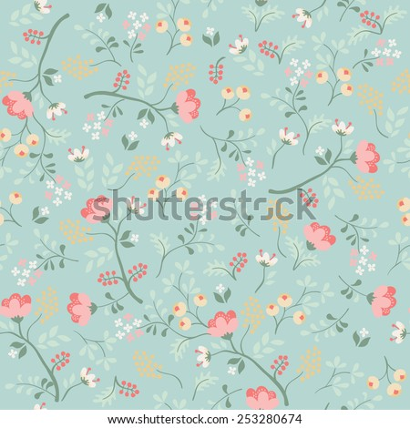 Floral seamless pattern. Retro background - stock vector