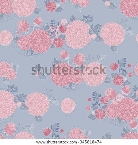 Floral Seamless Pattern. Round Hand Drawn Pink Asters on Grey Background.