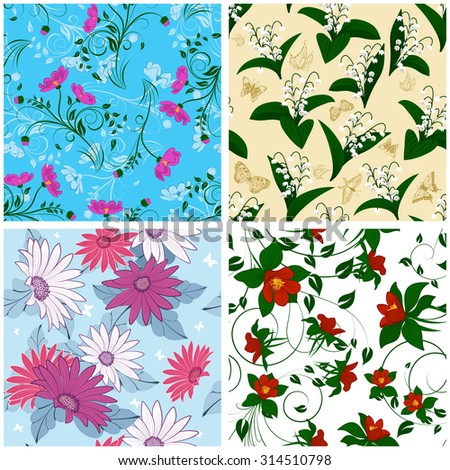 Floral Seamless Pattern Set. Elegant Design With Beautiful Flowers, Butterflies and Birds on Color Background. Floral and Swirl Elements. Ideal for Textile Print and Wallpapers. Vector Illustration. - stock vector