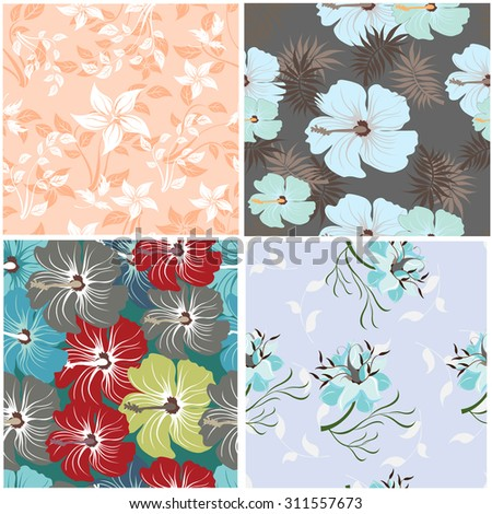 Floral Seamless Pattern  Set - Illustration Flower, Single Flower, Floral Pattern, Pattern, Backgrounds