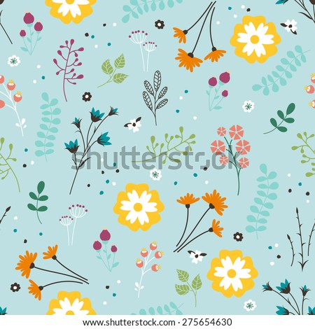 Floral Seamless Pattern. Vector Endless Damask with Flowers, Leaves and Berries. Beautiful Summer Background. - stock vector