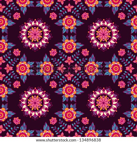 Floral seamless pattern. Vintage background. - stock vector