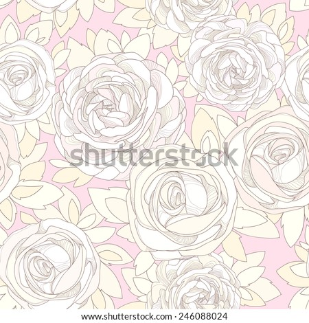 Floral seamless pattern. Vintage rose wallpaper. Detailed flowers, buds and petals. Neutral background, delicate pattern. Pale pink background with a delicate flowers in neutral pastel colors. - stock vector