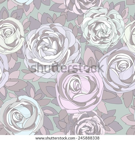 Floral seamless pattern. Vintage rose wallpaper. Detailed flowers, rosebuds and petals. Neutral background, delicate pattern. Purple background with contrasting flowers. - stock vector