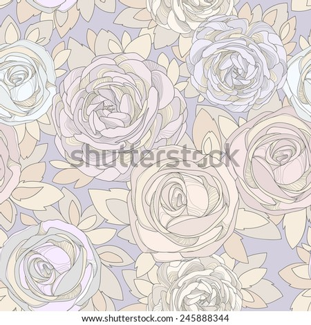 Floral seamless pattern. Vintage rose wallpaper. Detailed flowers, rosebuds and petals. Neutral background, delicate pattern. Purple background with a delicate flower in neutral pastel colors. - stock vector